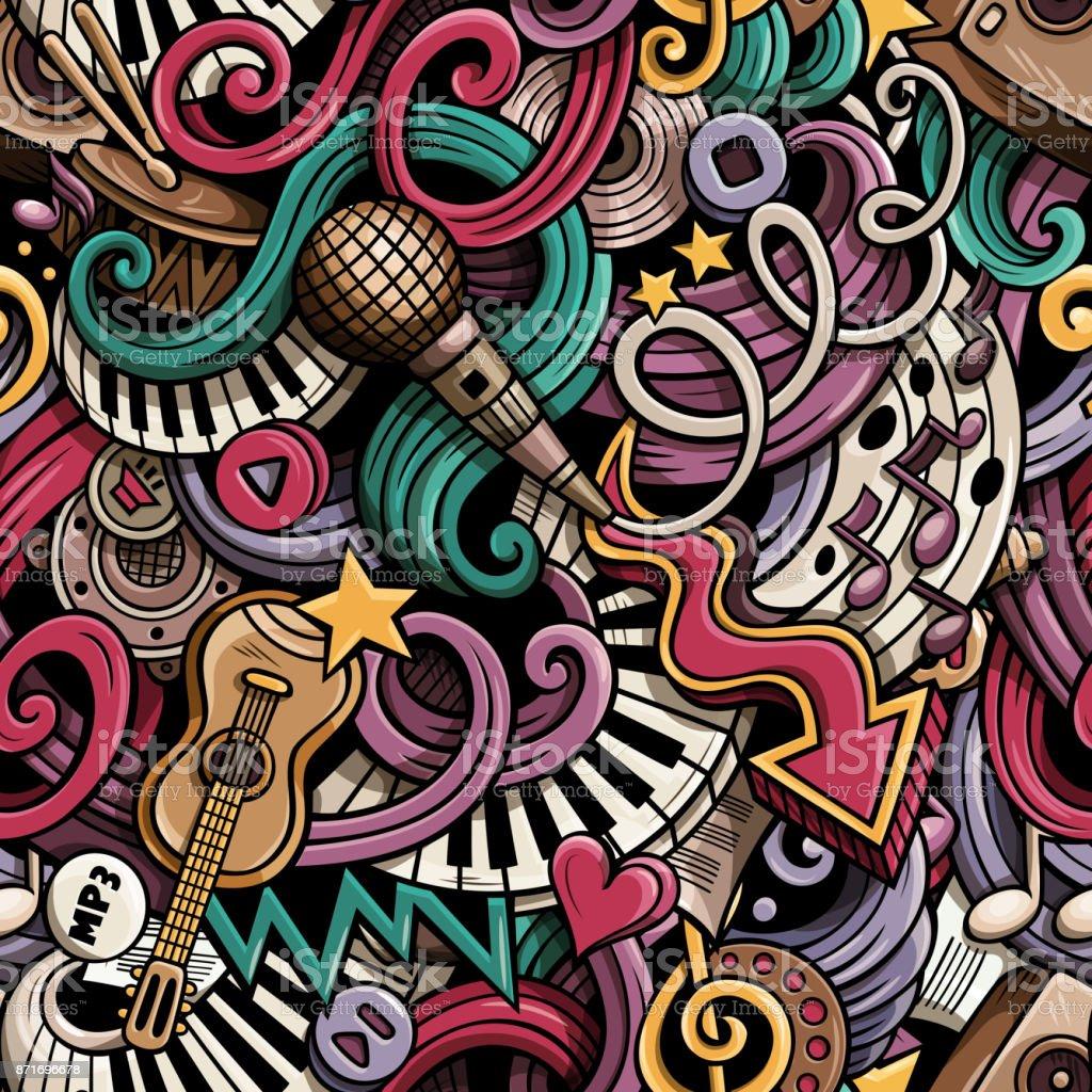Cartoon hand drawn doodles Music seamless pattern