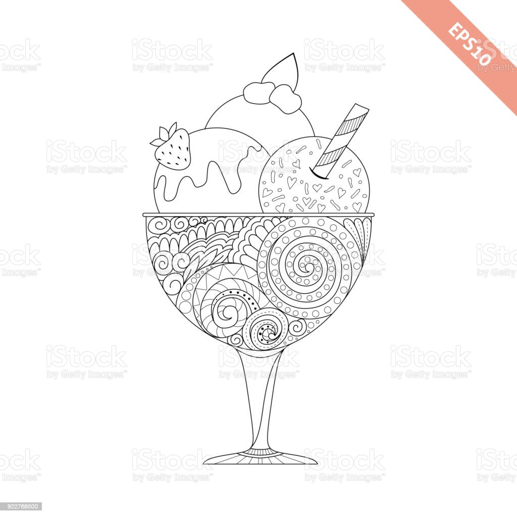 Cartoon Hand Drawn Ice Cream With Floral Doodle Ornament Coloring Page Book Ornate Black