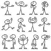 Cartoon hand drawn stick man in different poses vector set. Cartoon stick person hand drawn doodle sketch illustration