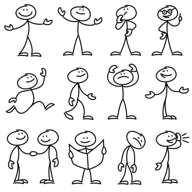 Cartoon hand drawn stick man in different poses vector set Cartoon hand drawn stick man in different poses vector set. Cartoon stick person hand drawn doodle sketch illustration cartoon people stock illustrations