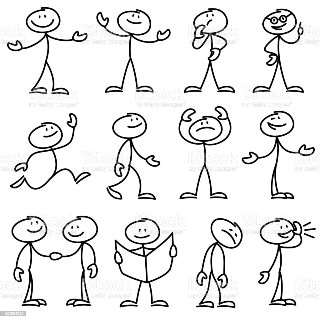 Cartoon hand drawn stick man in different poses vector set vector art illustration