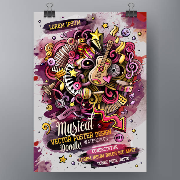 Cartoon Hand gezeichnete Aquarell doodles Musik-Poster-Design-Vorlage. – Vektorgrafik