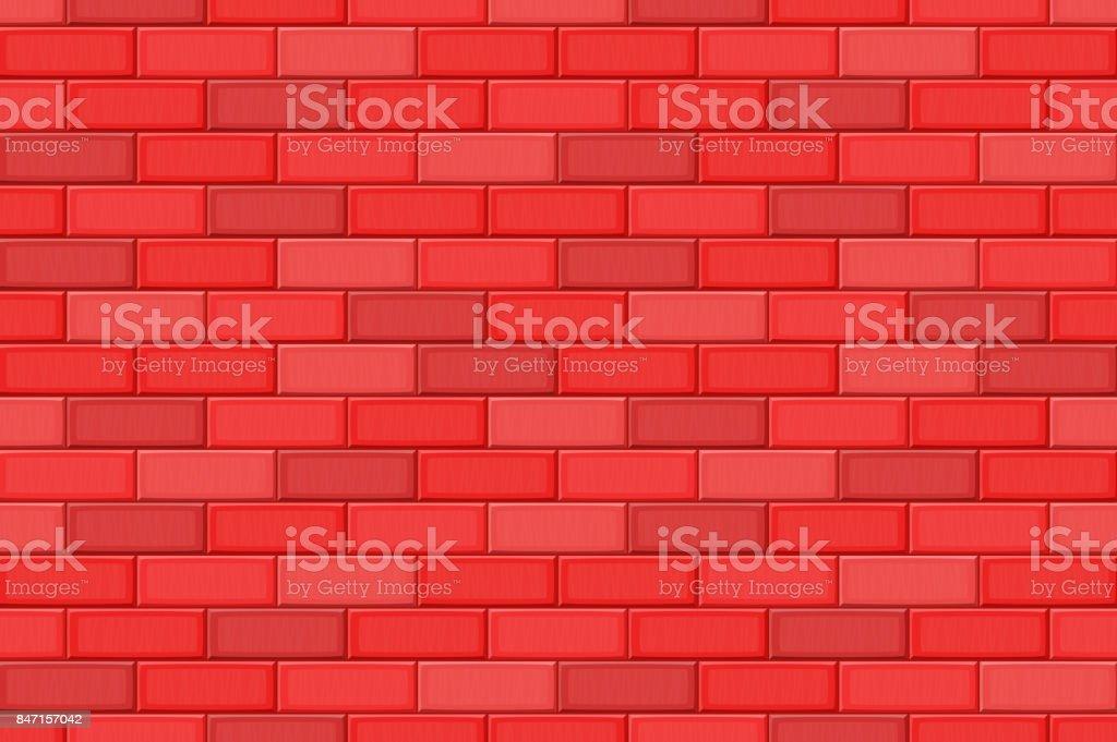Cartoon Hand Drown Red Realistic Seamless Brick Wall Texture