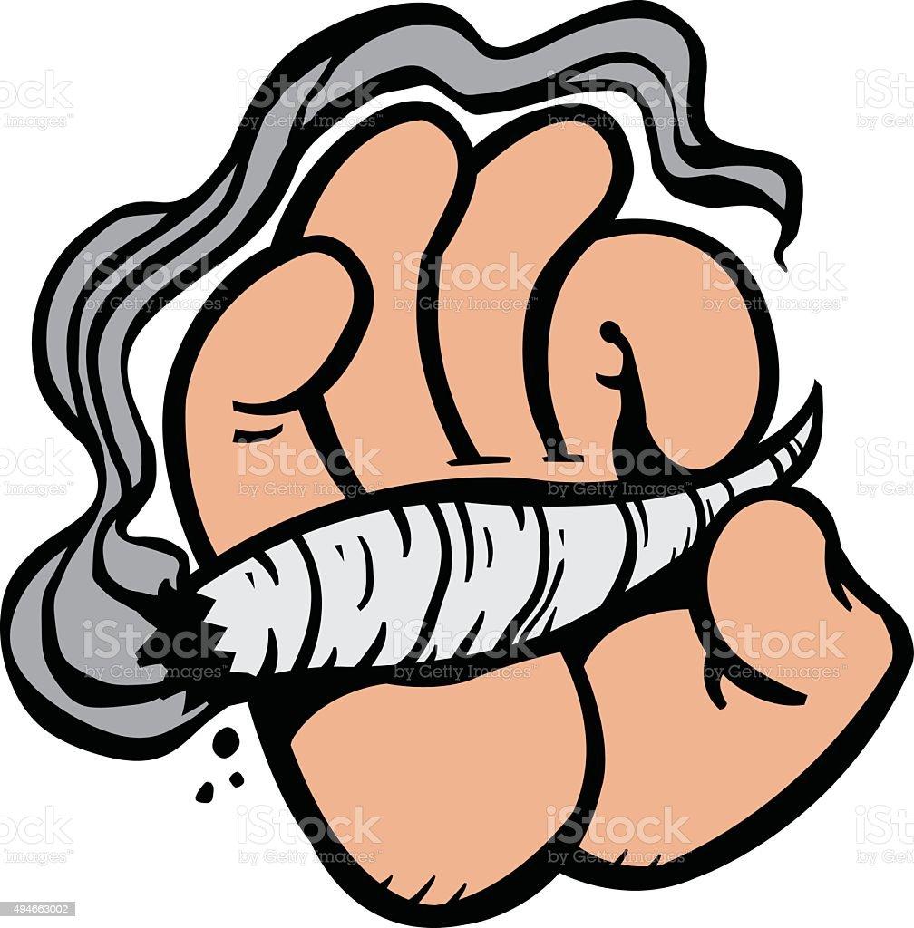 cartoon hand holding marijuana weed leaf pot joint stock vector art