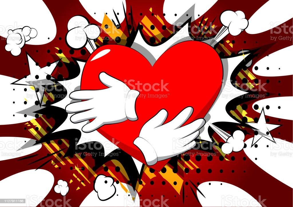 Dessin Animé Main étreindre Le Coeur Rouge Vecteurs Libres