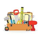 Cartoon Hand Tools Box. Vector