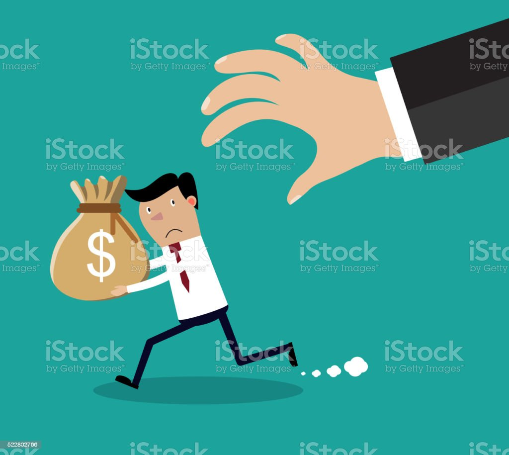 Cartoon hand tries to grab the bag of money vector art illustration