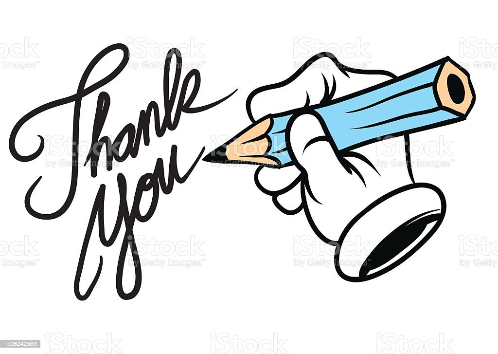 Cartoon hand writing thank you stock vector art 528242563 Thank you in calligraphy writing