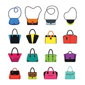 Cartoon Handbag or Female Bags Color Icons Set Trendy Fashion Accessory for Girl and Woman. Vector illustration