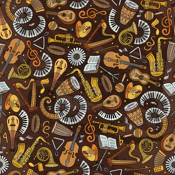 Cartoon handgezeichnete klassische Musik nahtlose Muster – Vektorgrafik