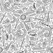 Cartoon hand-drawn Classic music seamless pattern. Lots of symbols, objects and elements. Perfect funny vector background.