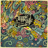 Cartoon hand-drawn doodles hippie illustration. Colorful detailed, with lots of objects vector background