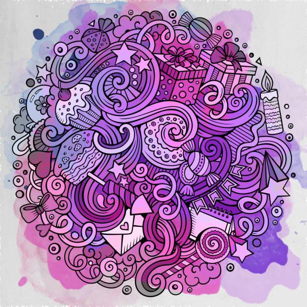 Cartoon hand-drawn doodles holidays illustration vector art illustration