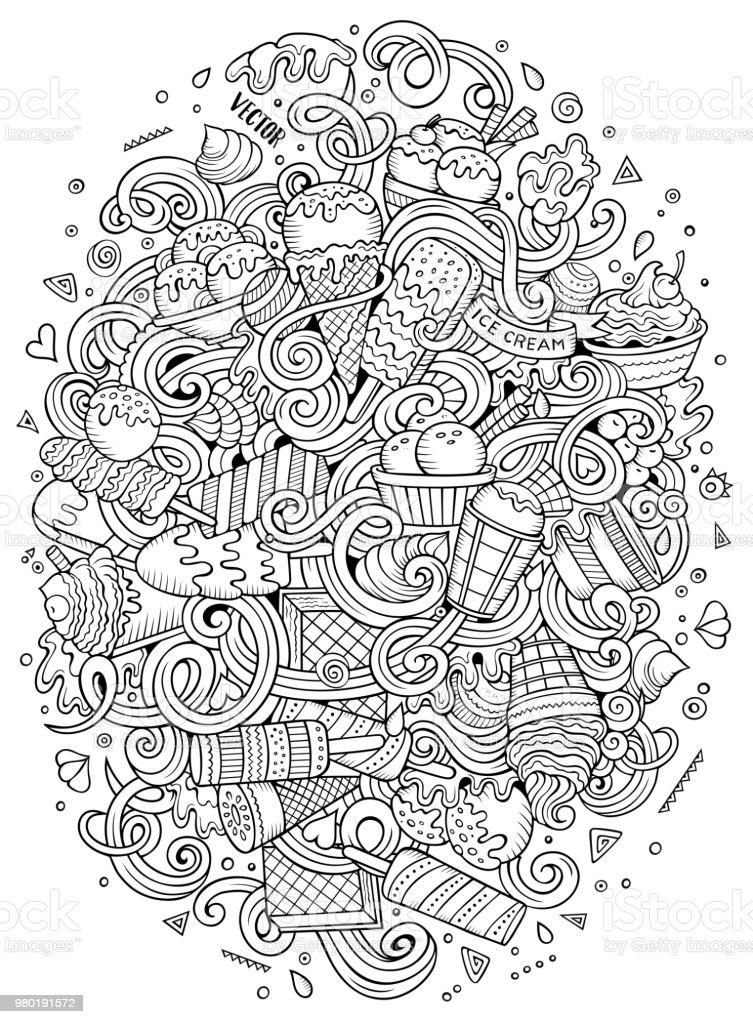 Handgezeichnete Cartoon Kritzeleien Eis Abbildung – Vektorgrafik