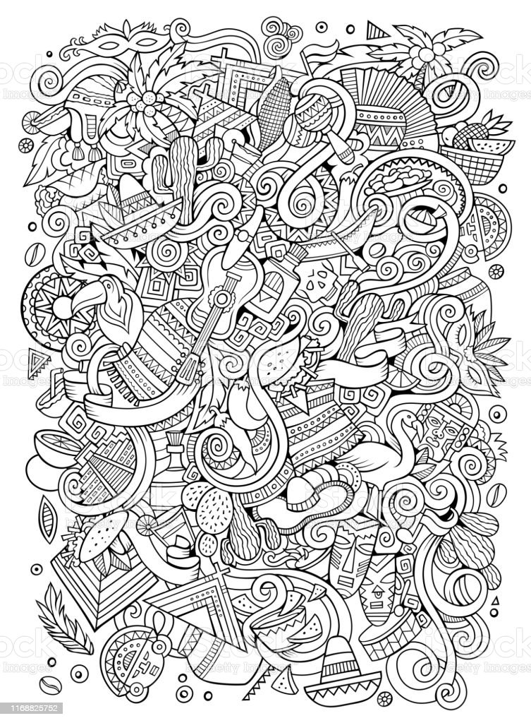 Cartoon hand-drawn doodles Latin American illustration. Line art...