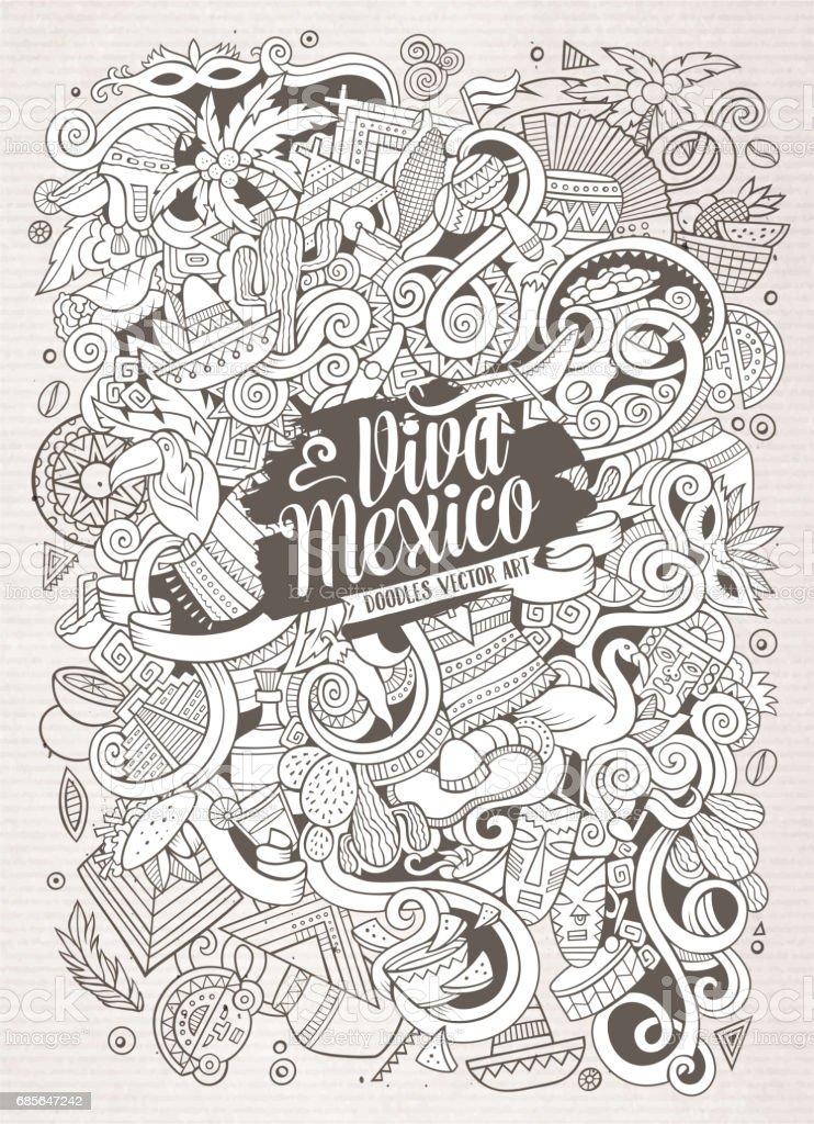 손으로 그린 만화 한다면 라틴 아메리카 그림. 라인 아트 royalty-free 손으로 그린 만화 한다면 라틴 아메리카 그림 라인 아트 개체 그룹에 대한 스톡 벡터 아트 및 기타 이미지