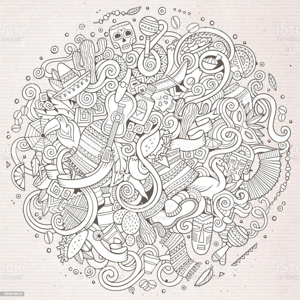 손으로 그린 만화 한다면 라틴 아메리카 그림 royalty-free 손으로 그린 만화 한다면 라틴 아메리카 그림 개체 그룹에 대한 스톡 벡터 아트 및 기타 이미지