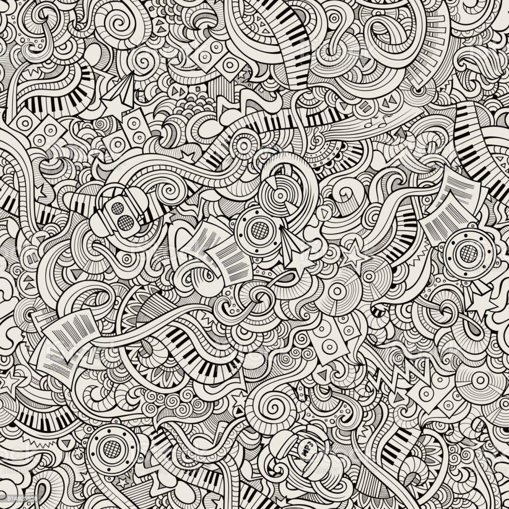 Cartoon hand-drawn doodles music seamless pattern vector art illustration
