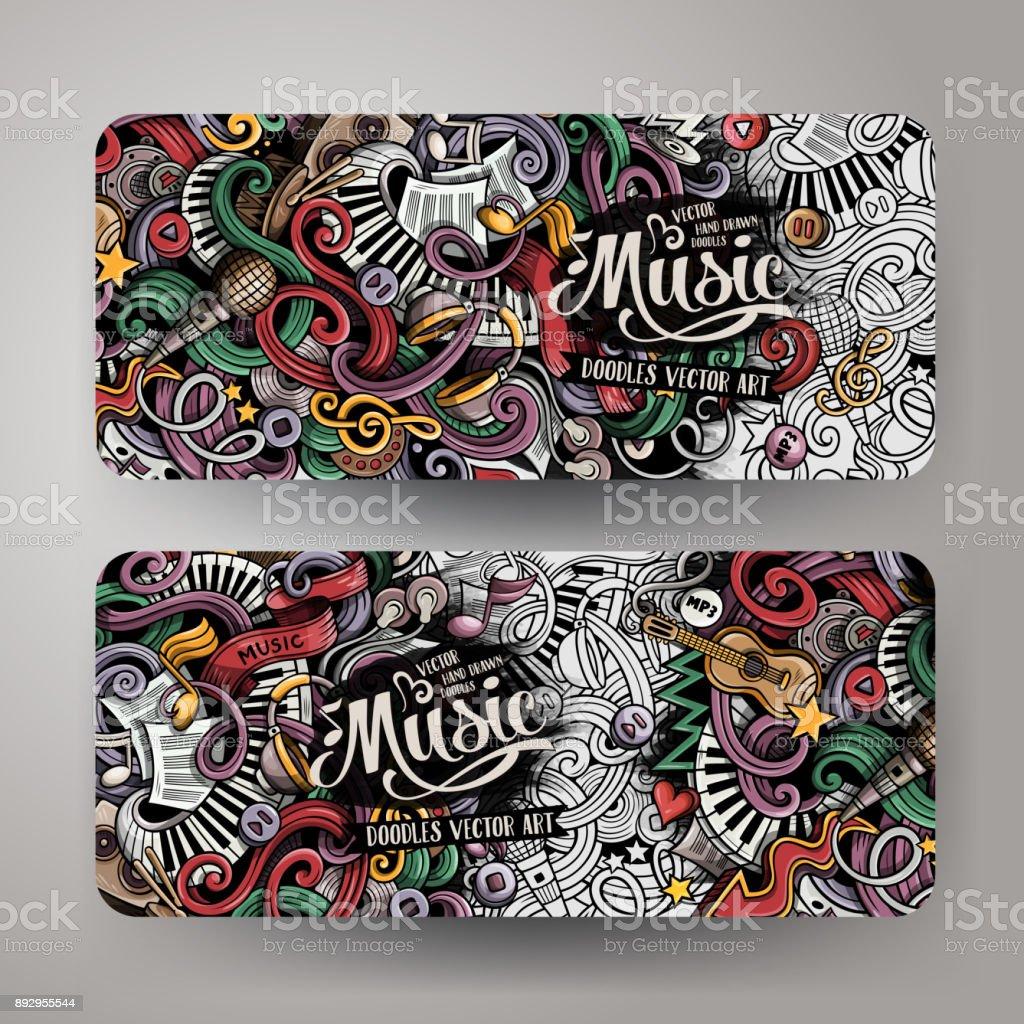 Cartoon hand-drawn doodles Musical banners