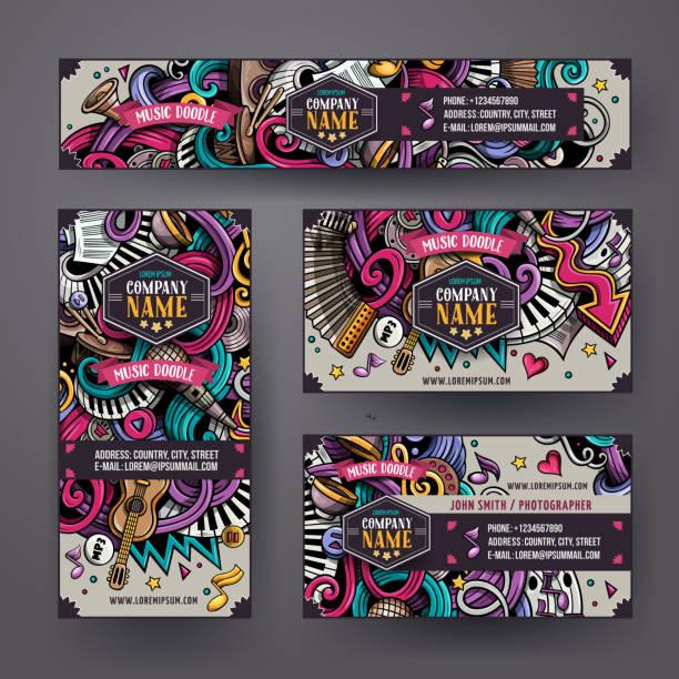 ilustrações, clipart, desenhos animados e ícones de desenhos animados mão-extraídas doodles identidade musical - festa da empresa