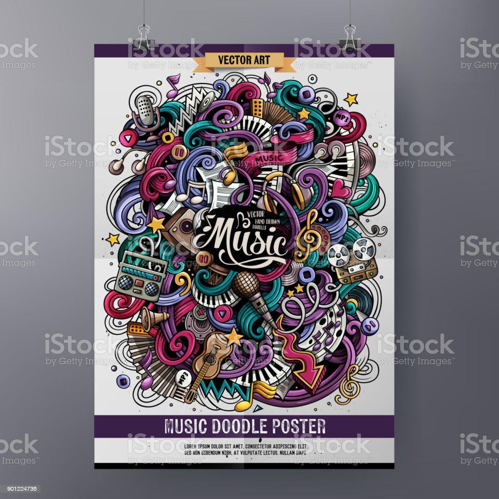 Cartoon hand-drawn doodles Musical poster