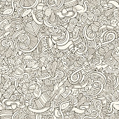 Cartoon hand-drawn doodles on the subject of Latin American style theme seamless pattern. Contour vector background