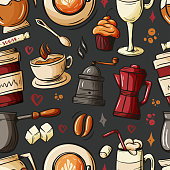 Cartoon hand-drawn doodles on the subject of cafe, coffee shop theme seamless pattern. Colorful detailed, with lots of objects vector background. Sketch elements for you design.