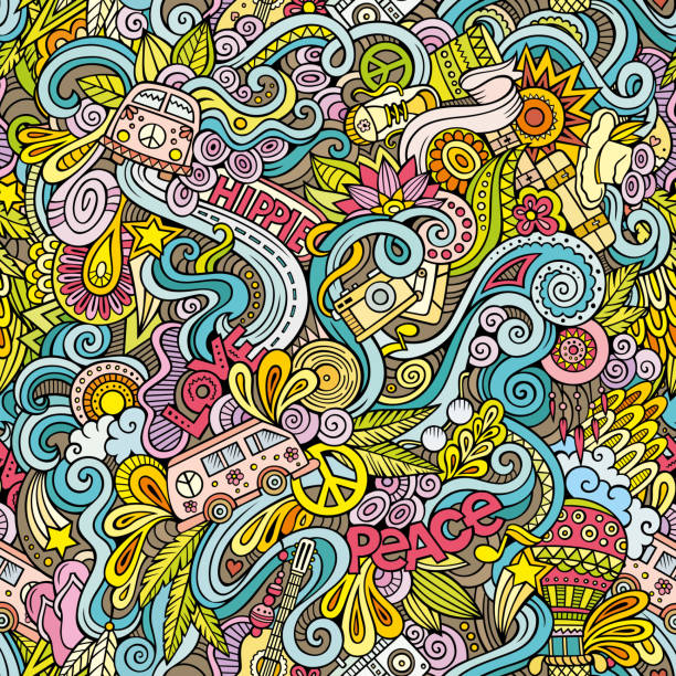 cartoon hand-drawn doodles on the subject of hippie style theme - hippie fashion stock illustrations, clip art, cartoons, & icons