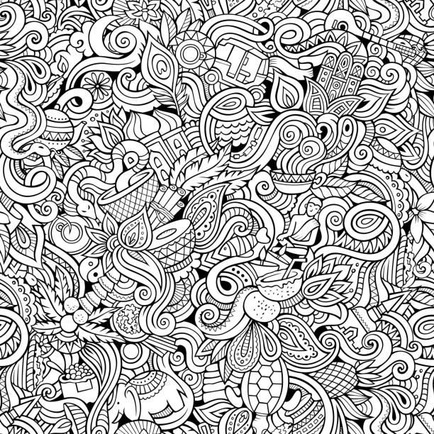 ilustraciones, imágenes clip art, dibujos animados e iconos de stock de dibujos animados dibujados a mano garabatos sobre el tema de la india patrón sin costuras - comida india