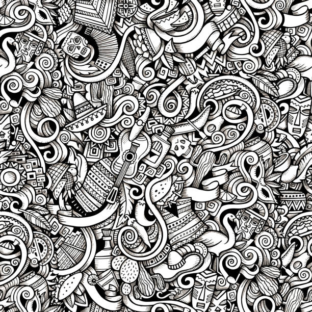 stockillustraties, clipart, cartoons en iconen met cartoon hand-drawn doodles on the subject of latin america - colombia land