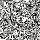 Cartoon hand-drawn Doodles on the subject of Latin American style theme seamless pattern. Contour trace vector background