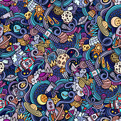 Cartoon hand-drawn doodles on the subject of space seamless pattern
