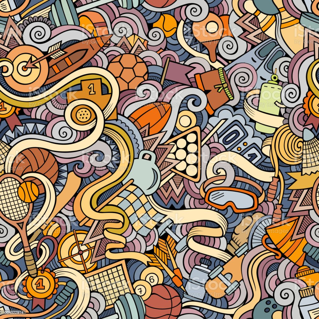 Cartoon hand-drawn doodles on the subject of sports style theme vector art illustration