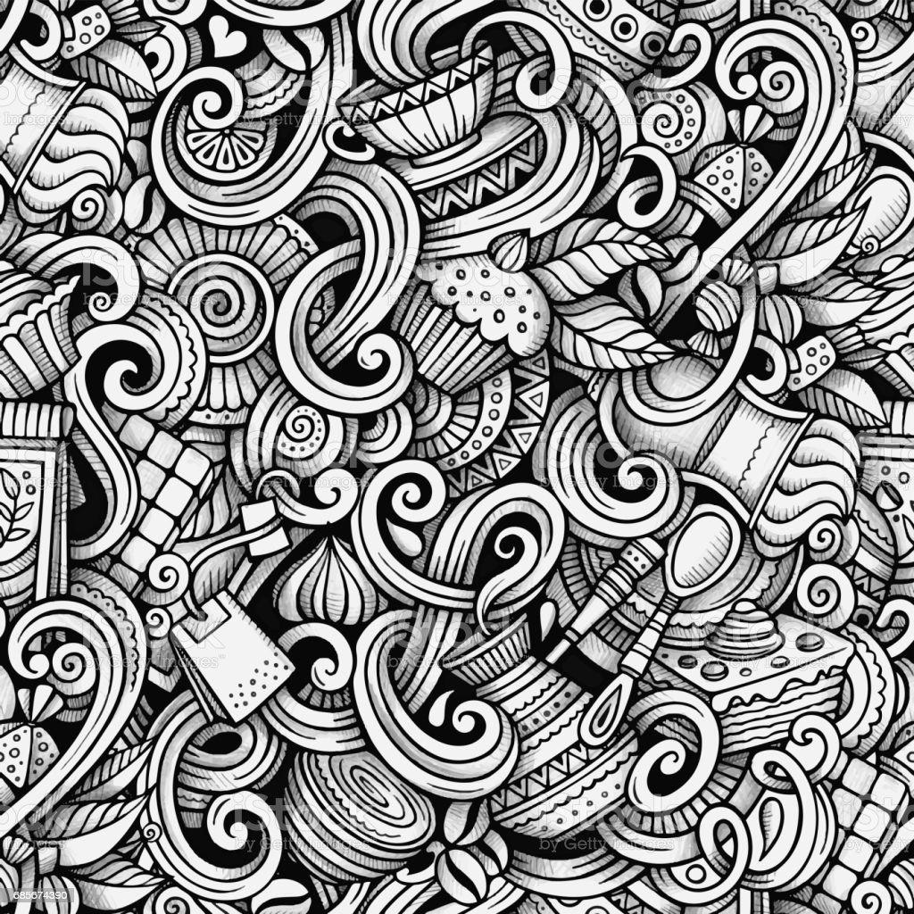 卡通手繪塗鴉茶和咖啡的無縫模式 免版稅 卡通手繪塗鴉茶和咖啡的無縫模式 向量插圖及更多 下午茶 圖片