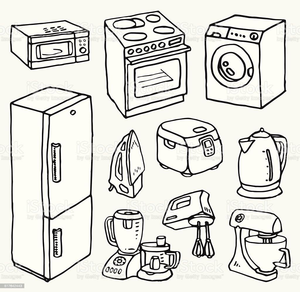 Comic Handgezeichnete Haushaltsgeräte Zum Kochen Und ...