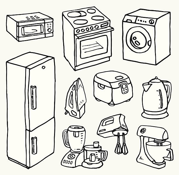 Cartoon hand-drawn household appliances for cooking and cleaning Electric teapot, stove, washing machine, microwave, multi cooker, blender, mixer, food processor, frige, flatiron. Vector images set. oven stock illustrations