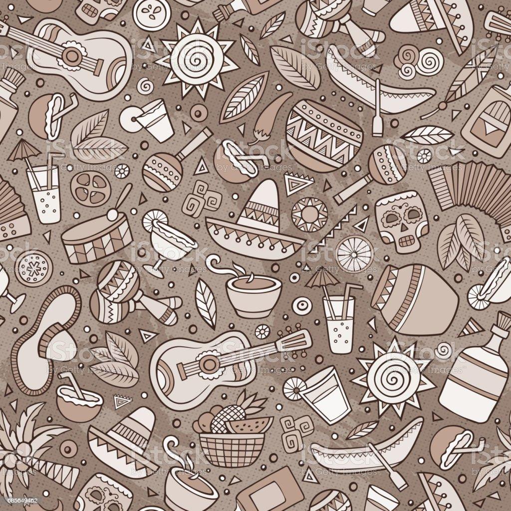 卡通手繪拉丁美洲, 墨西哥無縫模式 免版稅 卡通手繪拉丁美洲 墨西哥無縫模式 向量插圖及更多 一組物體 圖片