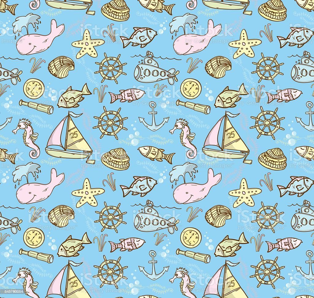 Cartoon hand-drawn seamless underwater pattern with fishes, whal vector art illustration
