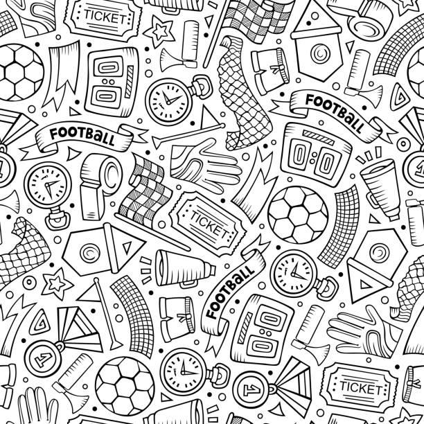 Cartoon handgezeichnete Fußball nahtlose Muster – Vektorgrafik