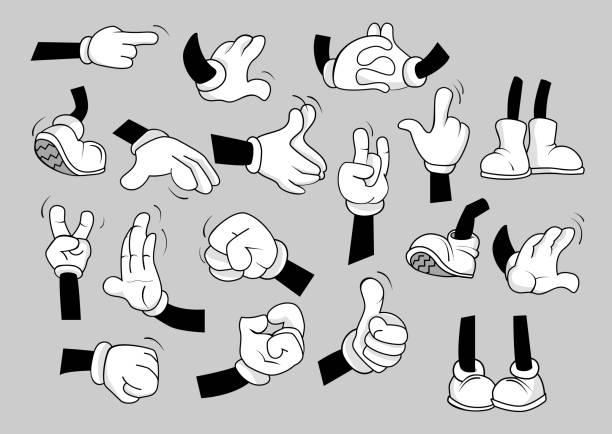 ilustrações de stock, clip art, desenhos animados e ícones de cartoon hands and legs set - feet hand