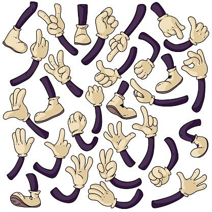 Cartoon hands and legs set