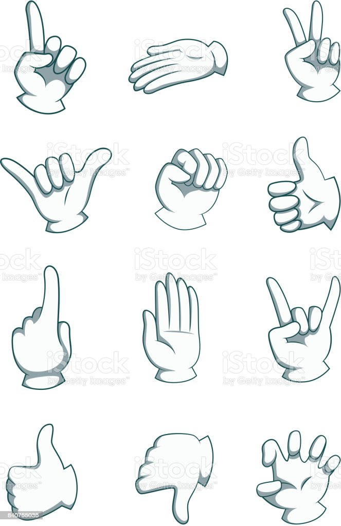 Cartoon Hands In Different Positions Vector Body Part Illustrations