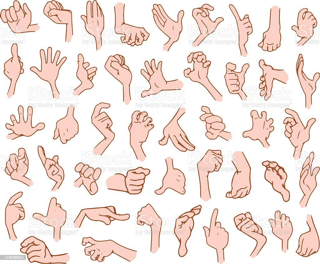 Cartoon Hands Pack 3 vector art illustration