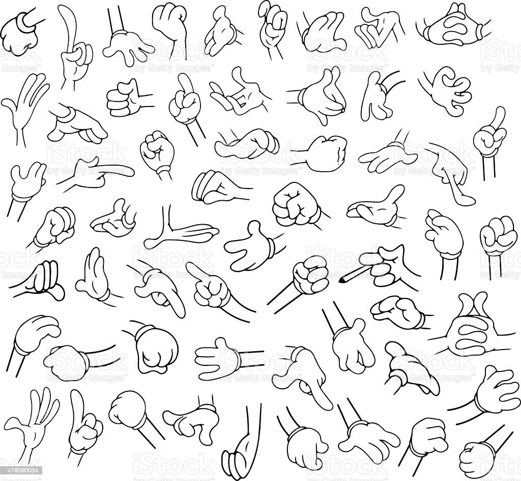 Cartoon Hands Pack Lineart 1 vector art illustration