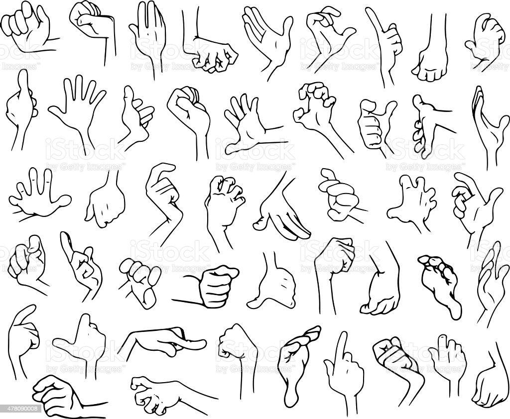 Cartoon Hands Pack Lineart 3 vector art illustration