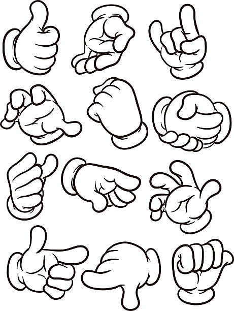 Cartoon hands Cartoon hands making different gestures. Vector clip art illustration with simple gradients. Each on a separate layer formal glove stock illustrations