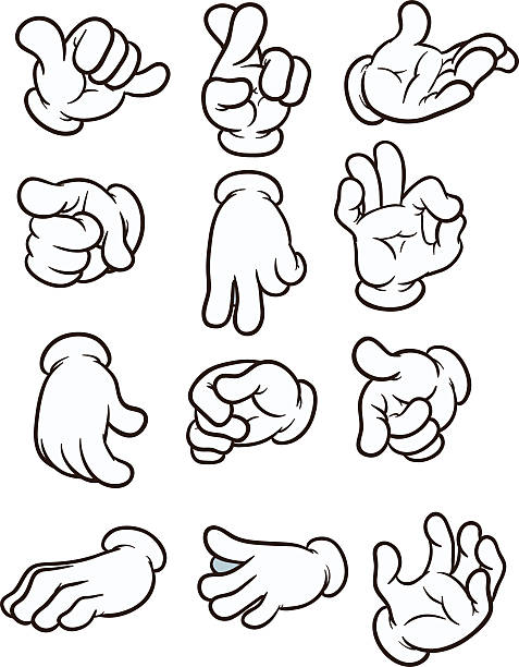 Cartoon hands Cartoon hands making different gestures. Vector clip art illustration. Each on a separate layer. formal glove stock illustrations