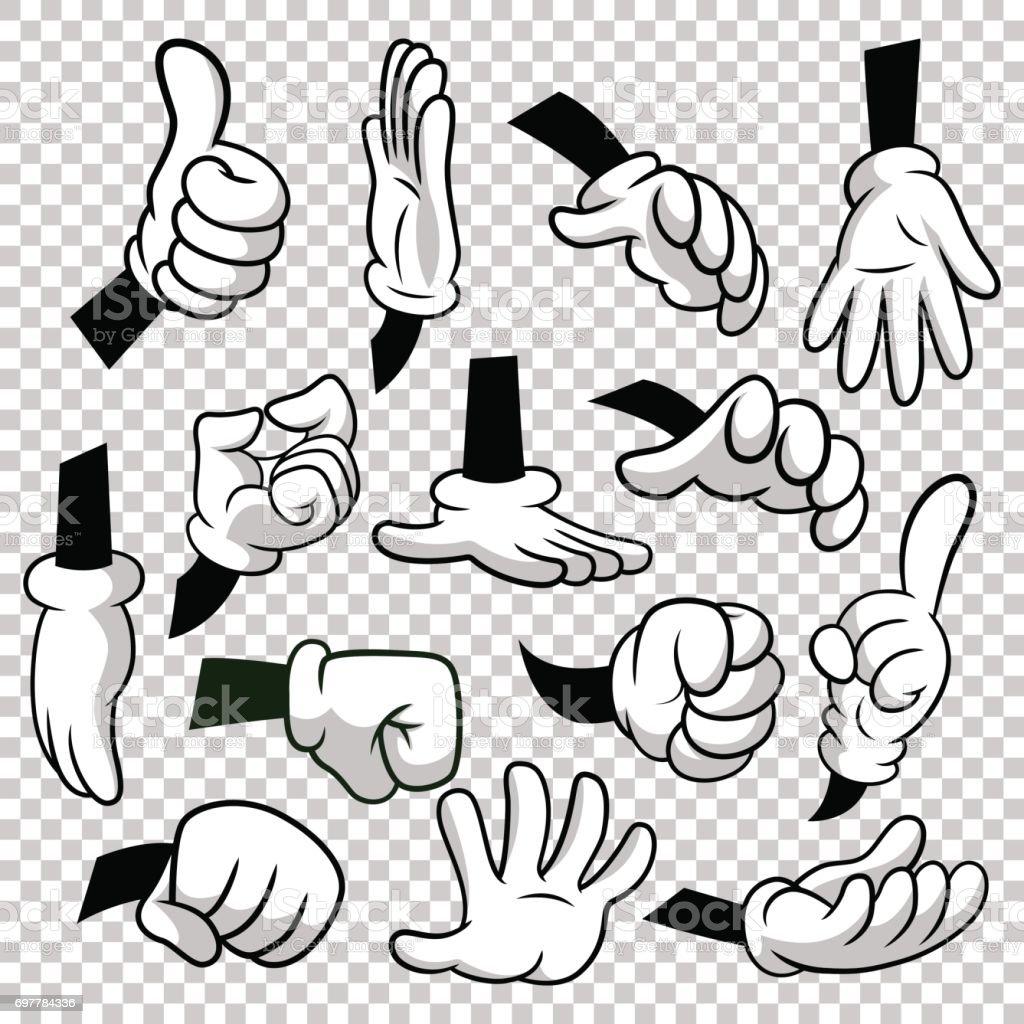Vetores De Dos Desenhos Animados De Mãos Com Luvas ícone