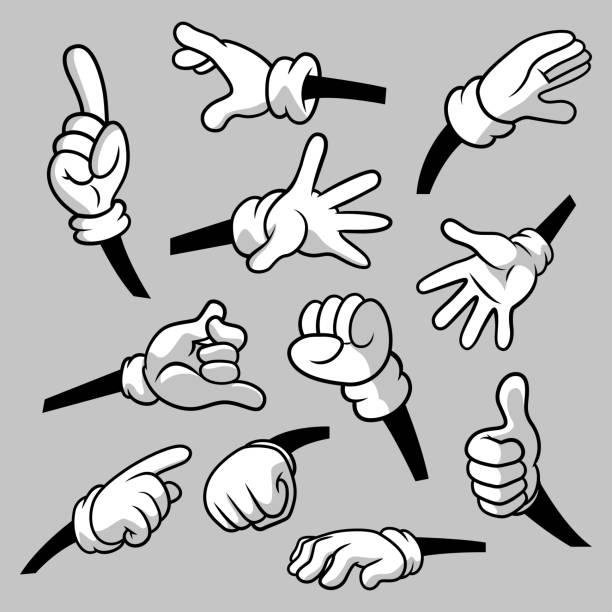 stockillustraties, clipart, cartoons en iconen met cartoon handen met handschoenen pictogram set geïsoleerd. vector clipart-delen van lichaam, armen in witte handschoenen. hand gebaar collectie. ontwerpsjablonen voor afbeeldingen - wijzen handgebaar