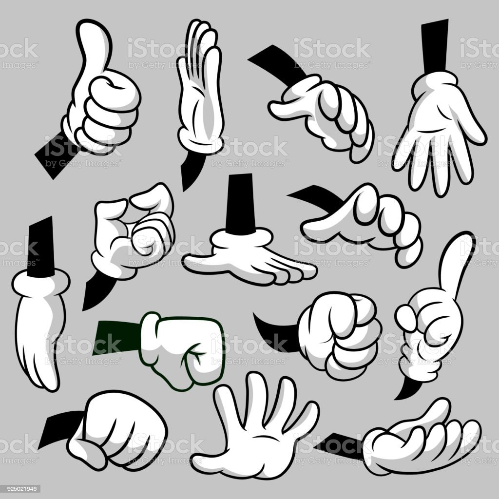 Cartoon Hands With Gloves Icon Set Isolated Vector Clipart Parts Of ...